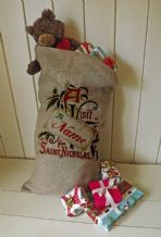 Personalized Vist from St Nick Large Father Christmas Xmas Santa Sack / Stocking Bag Jute Hessian